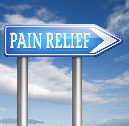 pain killer: pain relief and management by pain killer or other treatment chronic pains sign Stock Photo