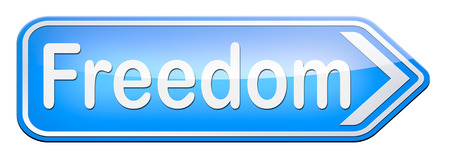 obligations: freedom peaceful free life without restrictions or obligations and peace democracy with text and word concept Stock Photo