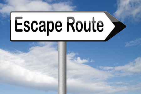 prison break: escape route avoid stress and break free running away to safety no rat race Stock Photo