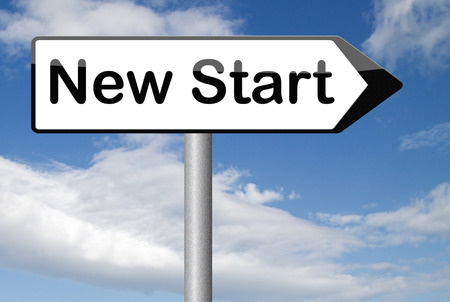 fresh start: new fresh start or chance back to the beginning and do it again road sign arrow