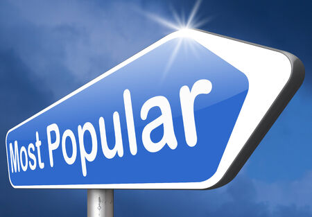 popularity: most popular sign popularity for bestseller or market leader and top product or rating in the pop poll charts Stock Photo