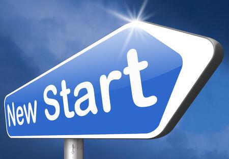 frisse start: nieuwe frisse start of toeval terug naar het begin en het opnieuw doen weg teken pijl Stockfoto
