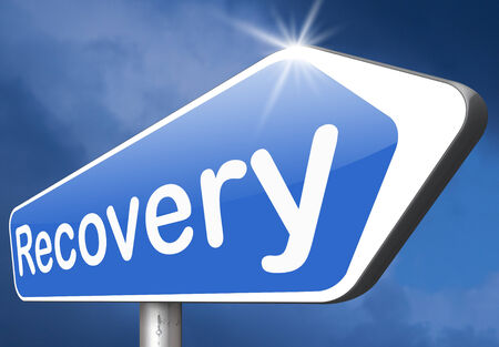 road to recovery: Recovery of lost data or from crisis and recession road to full economic recovery Stock Photo