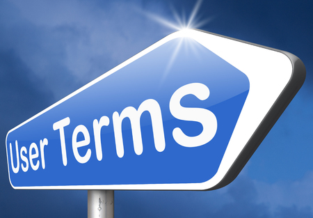 terms: Terms of use or user terms and agreement Stock Photo