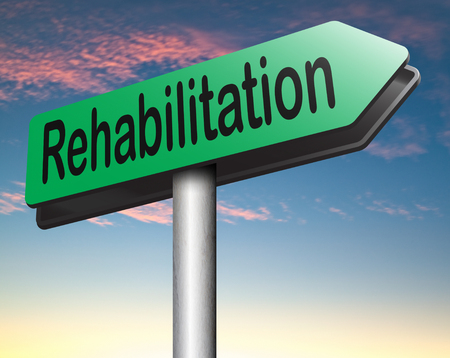 alcohol addiction: rehabilitation rehab for drugs alcohol addiction or sport and accident injury physical or mental therapy road sign arrow