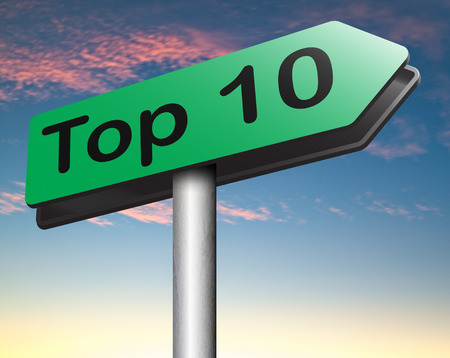 ten best: top 10 charts list pop poll result  and award winners chart ranking music hits best top ten quality rating prize winner Stock Photo