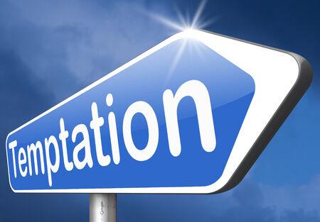 resisting: temptation resist devil temptations lose bad habits by self control Stock Photo
