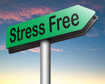 stress test: reduce stressfull life by stress free area by relaxation spa wellness treatment road sign Stock Photo