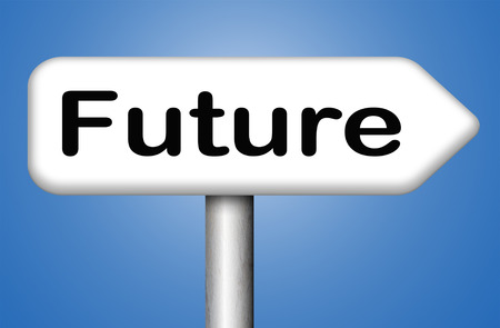 brighter: bright future ahead planning a happy future having a good plan with text and word concept science fiction prediction Stock Photo