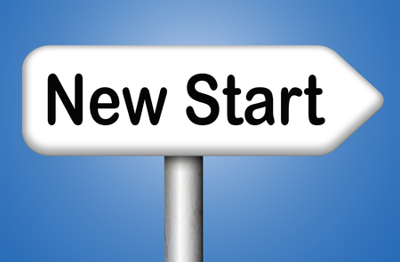 new start: new start fresh begin or chance back to the beginning and play the game again Stock Photo
