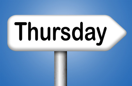 thursday: thursday next day calendar concept for appointment program or event