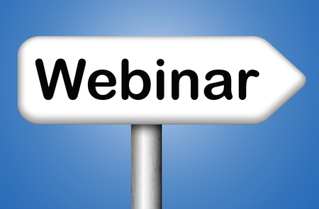 video chat: webinar online conference internet web meeting or workshop live video chat Stock Photo