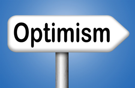 optimism think positive be an optimist by having a positivity attitude that leads to a happy optimistic life and mental health Stock Photo