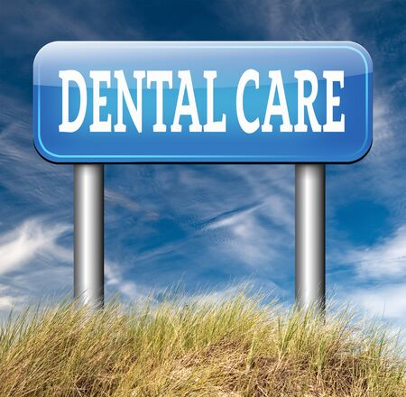 higiene bucal: dental carretera centro de atenci�n de firmar la higiene bucal o la cirug�a para la salud de los dientes sin caries pero con una hermosa sonrisa con el texto
