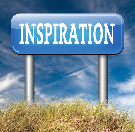 inspired: inspiration road sign getting inspired be creative create and invent brainstorm and inspire with text and word inspirations Stock Photo