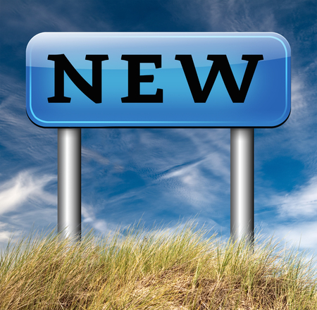 new collection: brand new collection and latest releases start again with a new series life trend or career Stock Photo