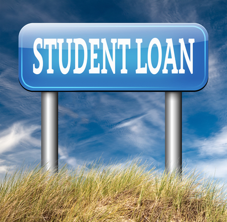 student loan: Student loan for university or college education grant or study scholarship road sign