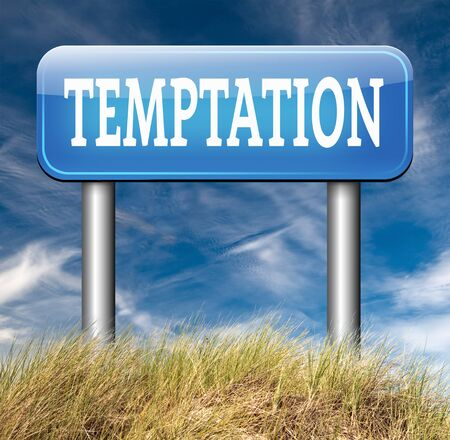 self control: temptation resist devil temptations lose bad habits by self control Stock Photo