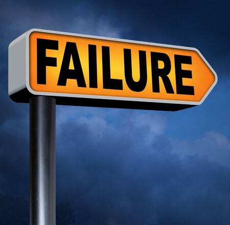 defeated: big failure road sign arrow ends in disaster fail exam test or other attempt failing examination is a disappointment Stock Photo