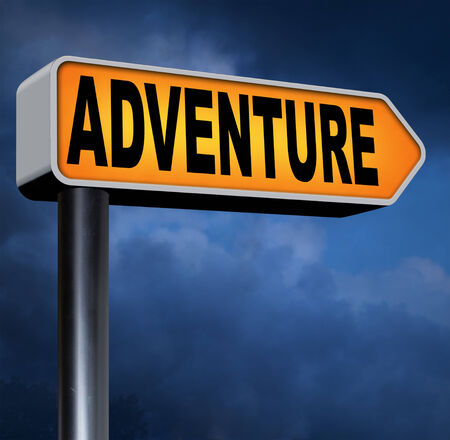 backpacking: adventure road sign travel and explore the world adventurous backpacking outdoors sport and nature vacation Stock Photo