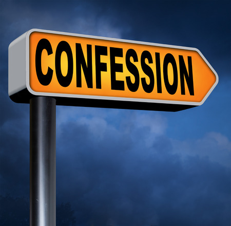confess: plea guilty as charged confessing crimes or sins to God and ask foregiveness and confess crime testimony or proof truth Stock Photo