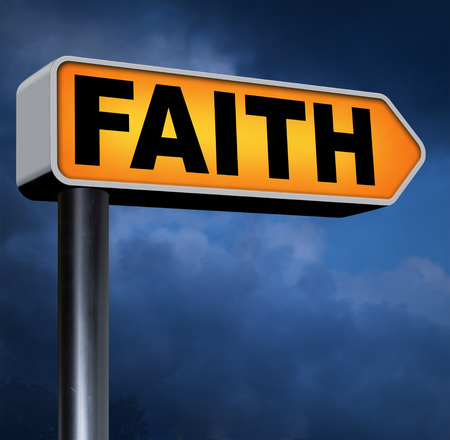 faith and trust pray to god and follow jesus and the holy bible road sign arrow photo