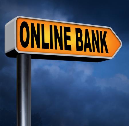 cuenta bancaria: la banca por Internet en l�nea dep�sito bancario de dinero signo cuenta carretera Foto de archivo