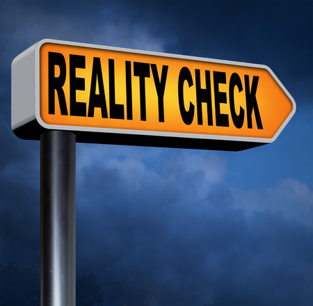 up down: reality check up down to earth Stock Photo