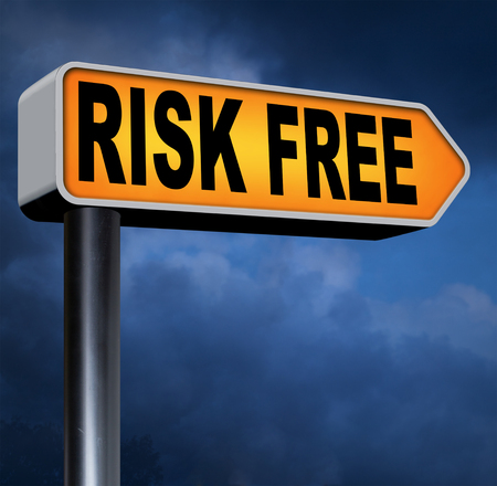 safe investment: risk free no risks safe investment best top quality product money back guarantee road sign arrow guaranteed warranty invest safely