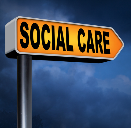 pension cuts: social care or health security healthcare insurance pension disability welfare and unemployment programs road sign arrow Stock Photo