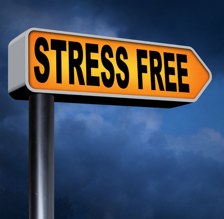 take a break: stress free zone take a break reduce work pressure spa relaxation wellness treatment stress test and management road sign Stock Photo