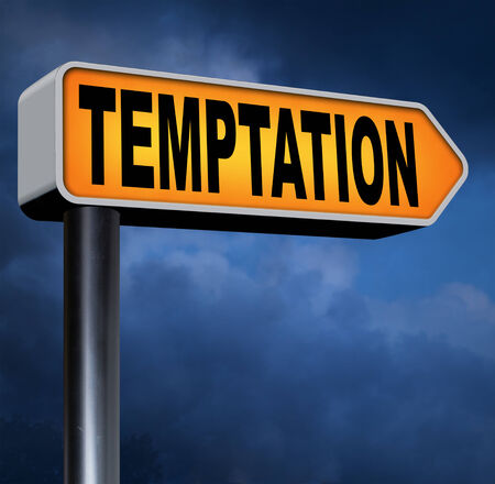 manipulate: temptation resist devil temptations lose bad habits by self control Stock Photo