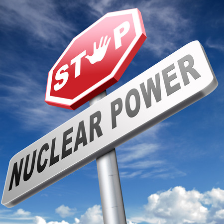 gamma radiation: no nuclear power stop radiactivity radio active waste from nuclear power plant danger of radiation and risk of contamination by gamma radiation Stock Photo