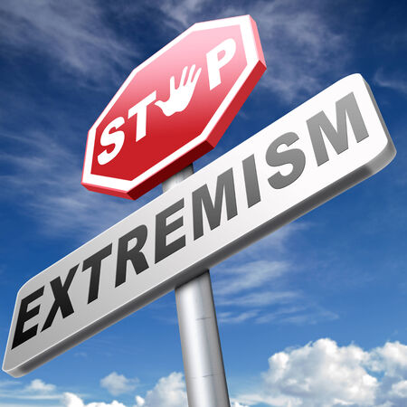 extremist: stop extremism political and religion extreme left and right jew catholic and muslim stop terrorism no discrimination