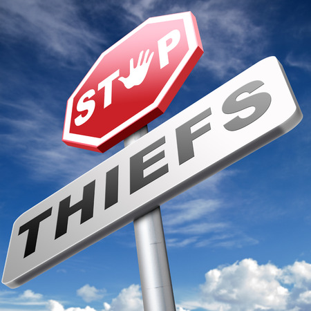 armed robbery: catch thiefs stop theft no robbery or pick pocket thief arrest by police investigation or neighborhood watch online internet thief Stock Photo