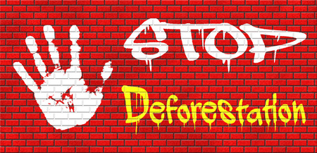 stop deforestation safe our planet dant cut down our trees the Amazon the African or Azian rainforest grafitty on red brick wall, text and hand photo