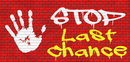 limited time: last chance or opportunity now act now or never time for action limited time offer grafitty on red brick wall, text and hand