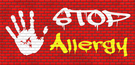 hypersensitivity: Allergy stop allergies and allergic reactions hypersensitivity disorder of the immune system  asthma attack caused by food or pollen hay fever grafitty on red brick wall, text and hand Stock Photo