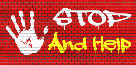 helping others: stop and help give a helping hand solidarity and give charity grafitty on red brick wall, text and hand