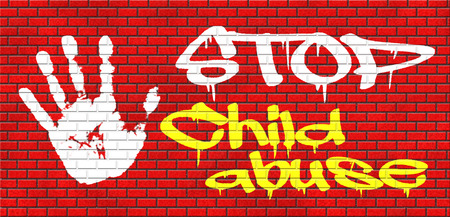 pedophilia: stop child abuse and neglection or violence toward children they need protaction against physical and psychological harassment grafitty on red brick wall, text and hand Stock Photo