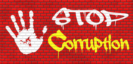 blackmail: stop corruption fraud and bribery political or police can be corrupt grafitty on red brick wall, text and hand Stock Photo