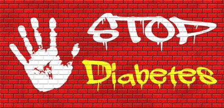 screen type: stop diabetes eat less sugar go on a diet and eat healthy prevention grafitty on red brick wall, text and hand
