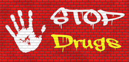 meth: stop drug addiction no drugs addict cocaine heroin crack christal meth grafitty on red brick wall, text and hand