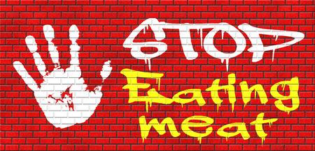 tierschutz: aufh�ren, Fleisch zu essen gehen vegan hinsichtlich Tierrechte und Tierschutz, Veganismus grafitty auf roten Backsteinmauer, Text und Hand Lizenzfreie Bilder