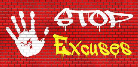excuser: pas d'excuses dire la v�rit�, prendre ses responsabilit�s et ne ai aucun regret. Arr�tez de mentir �tre responsable et prendre des responsabilit�s est mieux que de dire des mensonges. Dites excuses ne suffisent pas! Aucune excuse! grafitty sur le rouge mur de briques, du texte et de la main
