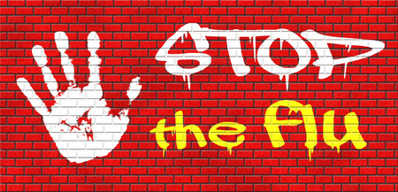 flu vaccination: flu vaccination shot stop the virus vaccine for immunization grafitty on red brick wall, text and hand Stock Photo