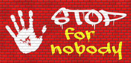 keep up: stop for nobody keep moving and going dont give up grafitty on red brick wall, text and hand