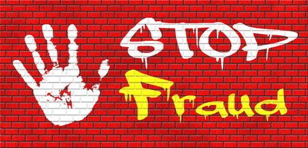 corrupt: fraud bride and political or police corruption money corrupt cyber or internet crime grafitty on red brick wall, text and hand