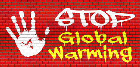 green house effect: stop global warming and climate change carbon neutral go green energy solar or wind power  green house effect no pollution grafitty on red brick wall, text and hand Stock Photo