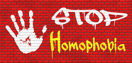 homophobia: homophobia homosexual discrimination homosexuality lesbian, gay, bisexual or transgender hostality and violence on the basis of sexual orientations equal human rights grafitty on red brick wall, text and hand